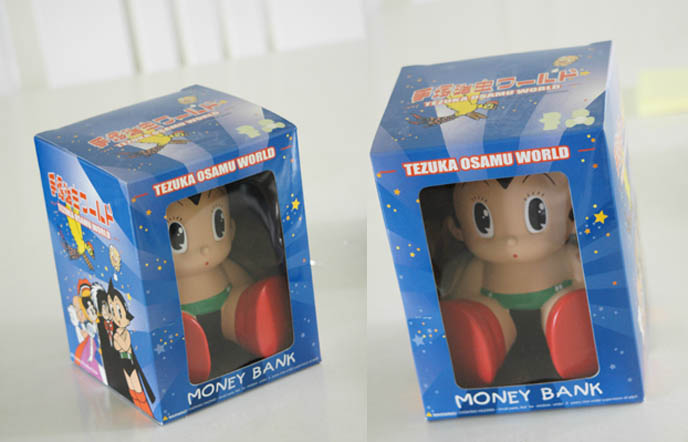 Astroboy money bank, piggybank, Tezuka Osamu anime character Astro Boy, kawaii cartoon figurine from Japan.