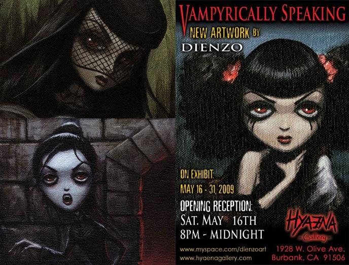 Dienzo solo art exhibit, Goth Vampyrically Speaking, vampire La Carmina portrait, creepy scary Gothic paintings.