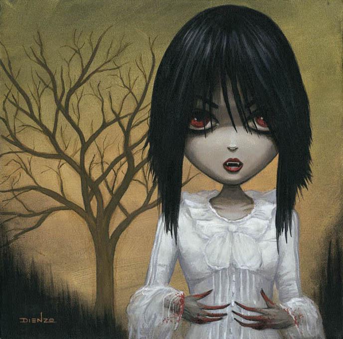 La Carmina portrait, painting of Gothic Lolita vampire blogger, artist DIENZO's first solo exhibition at Hyaena Gallery Burbank, Gothic art for sale.