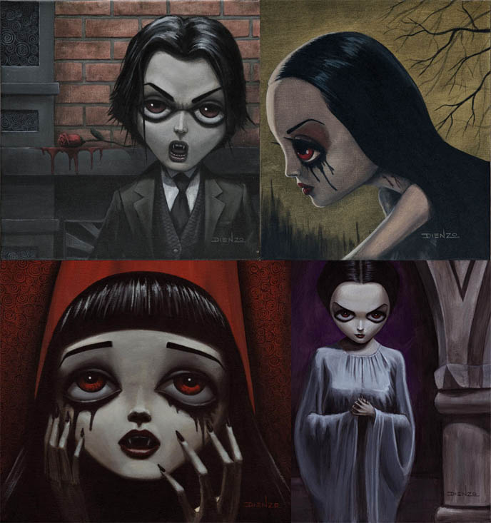 Sexy Goth girls, hot Gothic females, art and paintings by Dienzo, Halloween scary art.