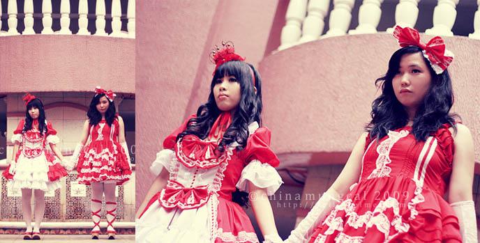 Gothic Lolita wedding, bridesmaid dresses, pretty cute Lolita asian girls, sweet teenage photoshoot, red dresses angelic pretty.