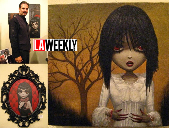 LA Weekly article on Dienzo gothic art exhibit at Hyaena Gallery Burbank, La Carmina vampire painting or portrait, Gothic Lolita fashion muse.