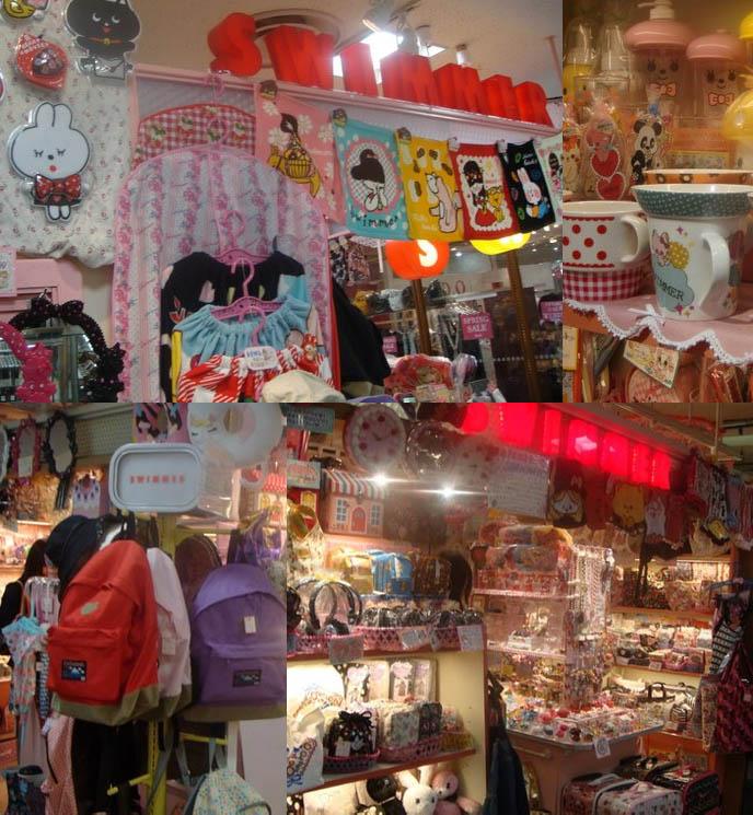 Japanese cute stationery, kawaii notebooks, date planners, calendars, sanrio diaries. Swimmer store in Laforet, Harajuku Japan. Girls souvenir store.