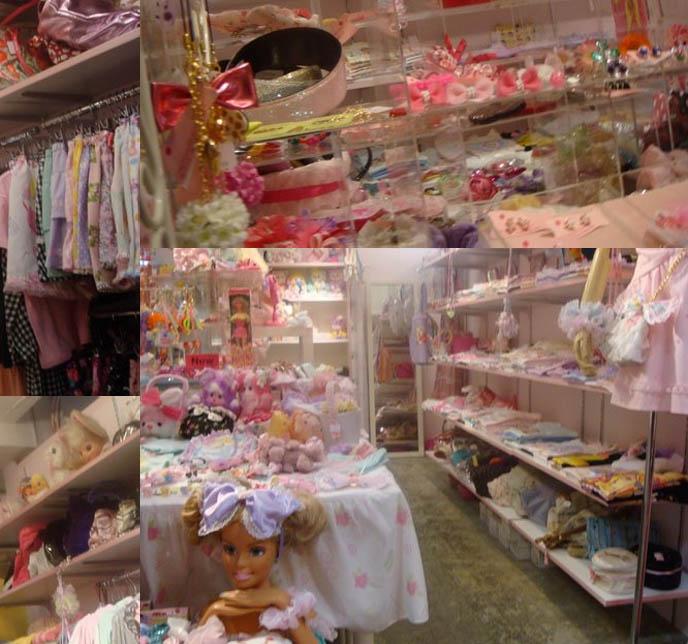 ナイル・パーチ Nile Perch Fairy Kei store in Laforet, toy box fashion. Guide to shopping for women's designer cool clothing in Tokyo Japan, Harajuku Girls department store, crazy Japanese hair accessories, barbie doll bows.