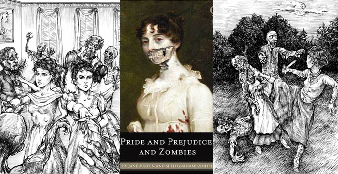 Pride and Prejudice and Zombies book, illustrations Jane Austin characters fighting zombie, living dead pictures, Ultraviolent Zombie Mayhem bestselling novel