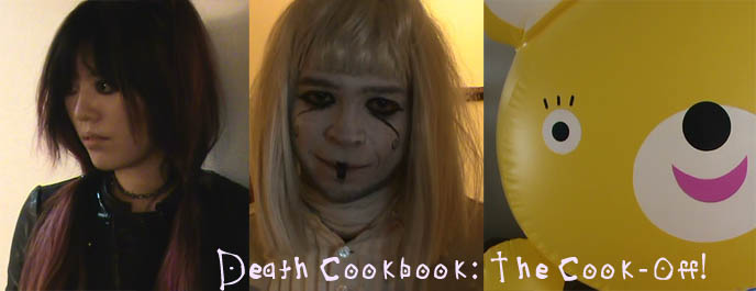 Inflatable blow up toy, bear animal blowup, funny cooking show video. Death Cookbook goth cooking show with hungry ghost, La Carmina, Japanese food and recipes demo videos