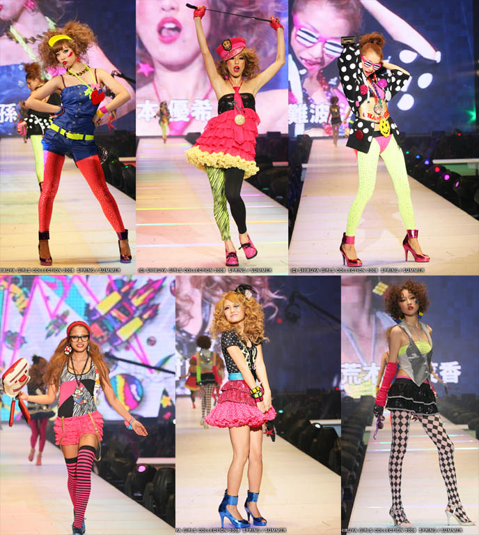 Crazy Japanese schoolgirl fashion, riding crop, aerobics tights and leggings, leotards neon electro spandex. Shibuya Girls collection, Tokyo girls fashion show, gyaru hairstyles and Japanese women's street clothing. Ganguro gal makeup and hair, accessories, joker tights.