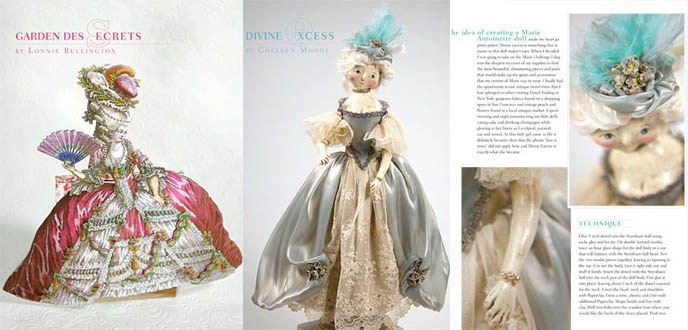 Marie Antoinette rococo dresses, ballgowns and scary dolls. Decadent hats, long puff skirts. Versailles court aristocratic fashion, Stampington California arts crafts magazine about French queen, sweet Lolita inspiration.