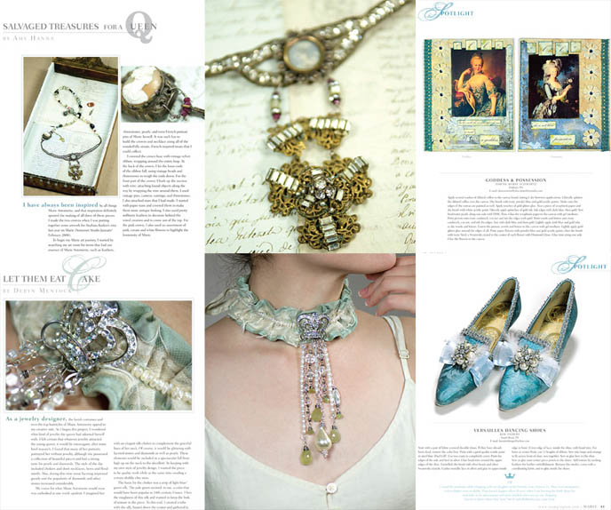 Marie Antoinette jewerly, slip on shoes, movie wardrobe. Rococo dresses, Versailles court aristocratic fashion, expensive jewelry 18th century. Stampington UK magazine about French queen, sweet Lolita inspiration.