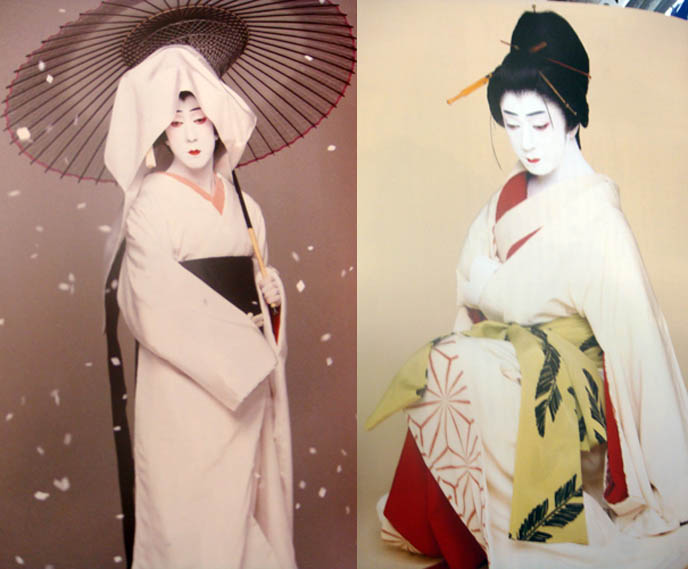 Crossdressing Japanese, man wearing geisha costume or outfit, Tokyo kabuki plays, Japanese theater, onnagata female impersonator on stage plays, Bando Tamasaburo. Transsexual makeup and kimono.