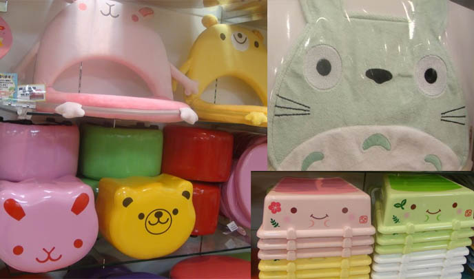 Japan buy cute Totoro Ghibli stationery, bib, souvenirs. Cute souvenir store and shopping in Ikebukuro Tokyo, plastic boxes with cute faces, kids and children's baby's home decoration, designer Japanese furniture.