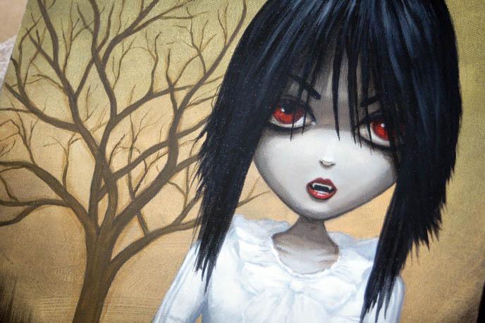 Dienzo painting of La Carmina Gothic Lolita, Hyaena gallery burbank exhibit of vampire art, bloody dripping fingers on cute pretty Goth girl.