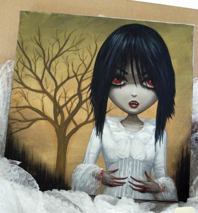 Dienzo painting of La Carmina Gothic Lolita, Hyaena gallery burbank exhibit of vampire art, bloody dripping fingers on cute pretty Goth girl, Los Angeles clubs.