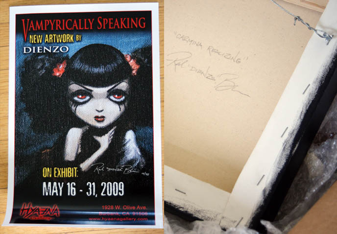 Rick Blanco signature, Dienzo painting of La Carmina Gothic Lolita with autograph. Hyaena gallery burbank exhibit of vampire art, bloody dripping fingers on cute pretty Goth girl.