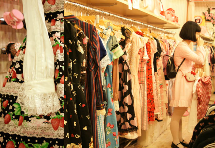 Sweet Lolita dresses on rack in Tokyo store, Closet Child Shinjuku. Strawberry pattern print Lolita dress. Japanese vintage shopping, buy secondhand women's clothing in Tokyo, cheap Gothic Lolita dresses, where to buy designer discount fashion in Japan. Vivienne Westwood, poodle skirt print Sweet Lolita dress.