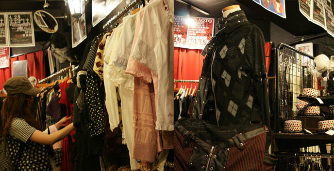 Japanese Goth punk J-rock clothing, band stage outfits, Visual Kei rock star clothes. retro vintage shopping, buy secondhand women's clothing in Tokyo, Shinjuku Closet Child, coolest places to buy fashion in Japan.