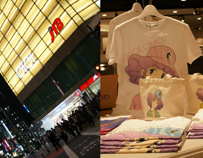 Marui One department store in Shinjuku, Tokyo, Japan. Quolomo t-shirt and clothing line. Japan bright neon lights at night, city life, nighttime photography scene of Shinjuku. Cute kawaii clothing store and shopping.