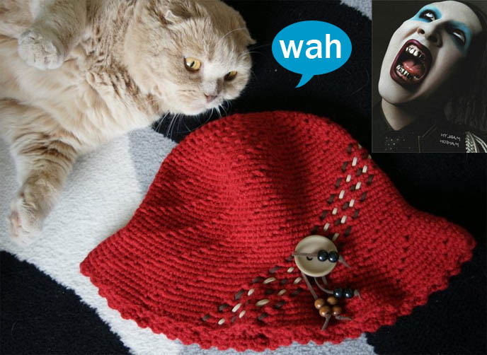 Marilyn Manson with big mouth dark lipstick, ghoul face, blue eyeshadow. scary goth shock rocker, red knit cap and scottish fold cat lying on back