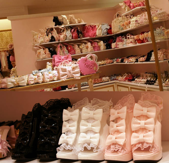 Jesus Diamante shoes, hime gyaru, princess kei fashion in Tokyo Japan. Paris Hilton bow and lace high heels, heiress designer fashion in Shinjuku young women's department store, shopping center Marui One 0101.