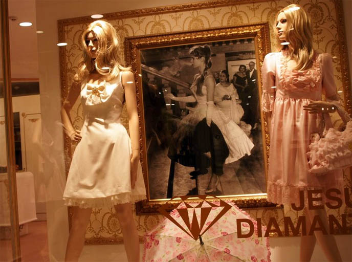 Jesus Diamante dresses, Rococo shoes, hime gyaru, princess kei fashion in Tokyo Japan. Paris Hilton bow and lace high heels, heiress designer fashion in Shinjuku young women's department store, shopping center Marui One 0101.