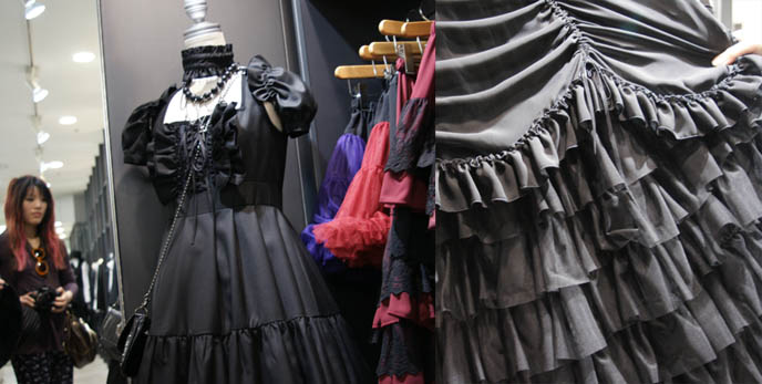 Beautiful Gothic Lolita dress, Victorian mourning gown, children's Lolita clothing. Ruffled hem. Black Peace Now store in Marui One Shinjuku, Elegant Gothic Lolita and Goth Aristocrat,  Designer fashion, puff petticoats, bell shaped skirts, lace tops. Where to buy Japanese women's clothing, cute stores in Tokyo Japan, shopping map
