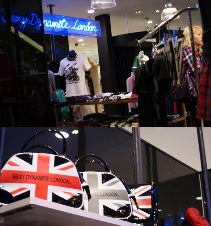 sexy Dynamite London, vivienne westwood, Japanese punk rock designer clothing. Union Jack purses, retro 1970s punk rock era boutique, shop in Tokyo's marui 0101 young womens fashion shopping complex, coolest shopping areas of Japan.
