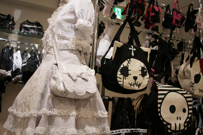 hangry and angry handbags, h.NAOTO purses and accessories, shirololi white lace dress with matching purse, JSK, one-piece, jumper h.NAOTO. Hangry and Angry evil Goth Lolita punk cats, plush toys. Japanese accessories from Maruione, where to buy hip women's clothing and Tokyo jewelry