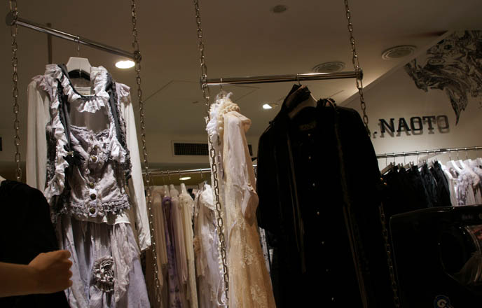 Gramm collection, Gothic Lolita dresses, deconstructed faded asymmetrical lace pastel clothing, designer garments from Japan, Rococo skirts, avantgarde clothes from Tokyo, MaruiOne shopping complex or department store.