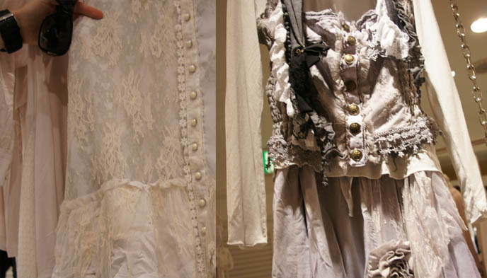 ロリータ・ファッション Gramm collection, Gothic Lolita dresses, pearl buttons and long lace tops, deconstructed faded asymmetrical lace pastel clothing, designer garments from Japan, Rococo skirts, avantgarde clothes from Tokyo, MaruiOne shopping complex or department store.