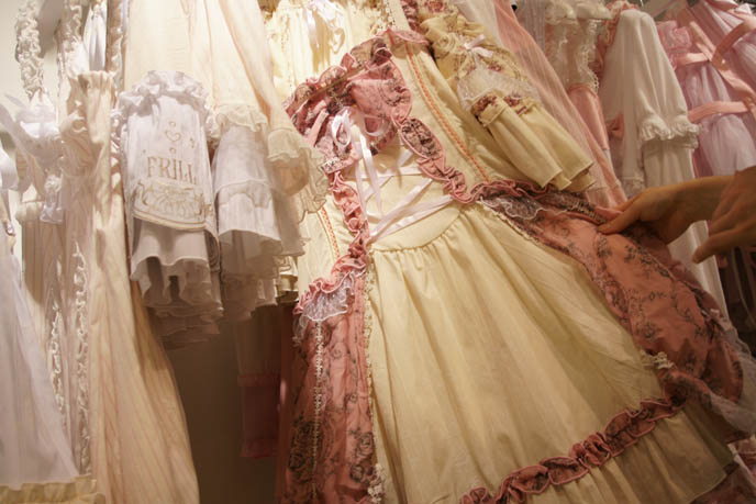 Lolita patterns and fabrics, Gothic Lolita sewing guides, mooks, Rococo costumes, Marie Antoinette long dresses, robes, pastel dress. h.NAOTO shop interior in Marui One, where to buy young Lolita cute clothes for girls, children clothes on rack