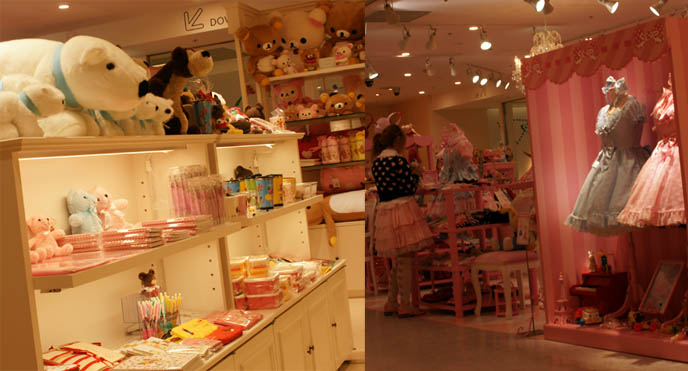 Kawaii toys, cute teddy bear and cat plush animals from Japan. Angelic Pretty sweet lolita dresses, cute pretty JSK, one piece, jumpers, heart prints, pastel color Lolita dresses for young women and girls. Pink store, shelves, little girls bedroom design with toys. ロリータ・ファッション