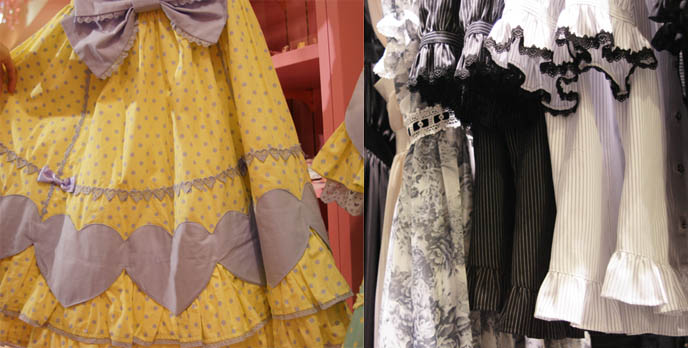 Sweet Lolita skirts and lace tops with short sleeves. Angelic Pretty sweet lolita dresses, cute pretty JSK, one piece, jumpers, heart prints, pastel color Lolita dresses for young women and girls. Pink store, shelves, little girls bedroom design with toys. Cute frilly fashion prissy girls