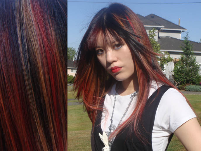 , Visual Kei hair, Gothic Lolita dyed red and blonde streaks in hair
