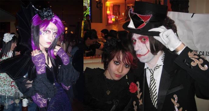 Japanese Goth fashion, male gothic aristocrat clothes, transgendered crossdressing at Japan fetish night, party and nightlife at Shinjuku Christon Cafe theme restaurant.