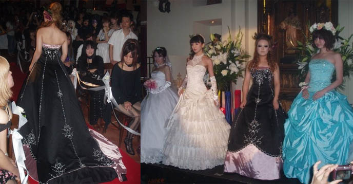 Japanese Goth wedding dresses, Gothic Lolita sweet lolita wedding gowns, Gothic bride dress, alternative rock wedding ceremonies, Japanee Gothic club party and nightlife at Shinjuku Christon Cafe theme restaurant.