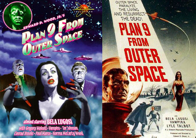 Plan Nine from Outer Space, worst movie ever made, horror B-movie, campy vampire film by Ed Wood, Edward D Wood Jr, Vampira, Bela Lugosi last film stills