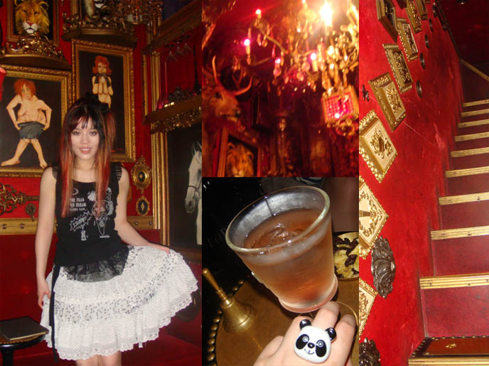 Piano Bar in Shibuya, red walls and gold frames, deer heads. Coolest Tokyo dive bar. Anthony Bourdain in Tokyo Japan, No Reservations episode, Cook's Tour, Kitchen Confidential book. Discovery Travel channel food show, Japanese cute Goth girls, Tokyo Gothic Lolita models