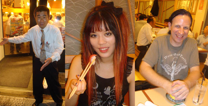 Tsukiji Market sushi, cheap fresh best sushi in Tokyo. Anthony Bourdain in Tokyo Japan, No Reservations episode. Cute Japanese Goth girl eating sushi, Kitchen Confidential, A Cook's Tour Japan