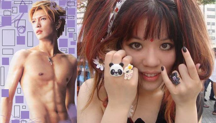 Gackt Camui naked, bare stomach, shirtless photo of Gackt concert live. Cute kawaii animal rings, Japanese Harajuku sweet lolita rings, deer panda teddy bear accessories and jewelry from Japan.