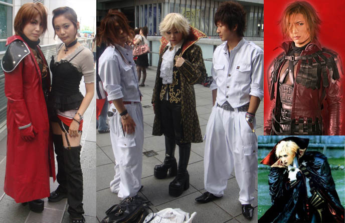 Gackt cosplayers at concert in Tokyo, Japan, Saitama arena. Red coat or jacket, J-rock hair, Miserable cd, Japanese J-rock star, Visual Kei, Malice Mizer singer. Gackt Camui nose job plastic surgery, band outfits, Visual Kei feminine cross-dressing rock stars, live photos and videos.