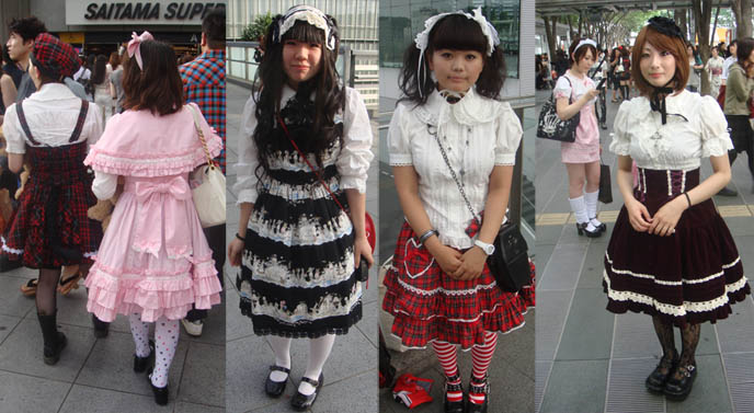 Classical and Goth lolitas, Sweet teenage lolita girls, lolita models in frilly sissy pretty dresses, lace children's clothing, gosurori, sweet loli, amaloli outsdie Gackt concert in Tokyo, Japan, Saitama arena. Pretty teen lolitas, Japanese schoolgirls in kawaii outfits.
