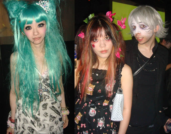Green wig, mermaid hair. Thick fake featured eyelashes, lip ring on Japanese Goth girl, fairy kei. Alamode night, Club Crawl Shibuya. Tokyo Japan industrial hardcore gabber nightclub, music, concerts. Best dance parties in Japan. DJ Sisen, Chihiro, Takuya Angel, Tetra, Kanon, D's Valentine Goth party.