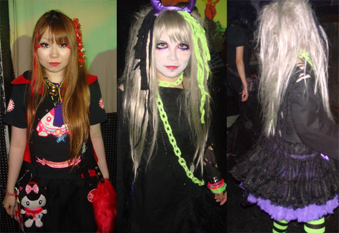 Cyber Lolita neon rave Goth girls at Japanese nightclub, guide to clubs in Japan, upcoming Gothic events. Wa Lolita, Alamode night, Club Crawl Shibuya. Tokyo Japan industrial hardcore gabber nightclub, music, concerts. Best dance parties in Japan. DJ Sisen, Chihiro, Takuya Angel, Tetra, Kanon, D's Valentine Goth party.