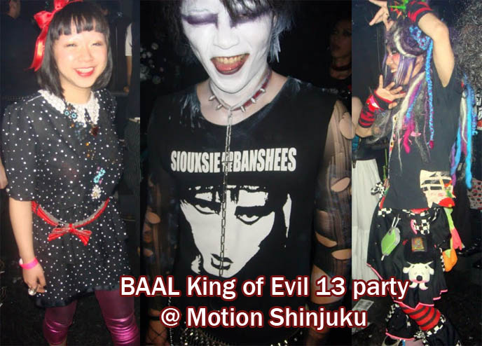 Japan Tokyo Goth Bands! BAAL, 13th Moon, Demonoid 13 performing live at Shinjuku Motion dark fetish DJ club party. 1980s Goth male hair, spooky facepaint makeup, Halloween creative costumes. Cute Japanese Goth girl at club night, nightclub party, King of Evil 13