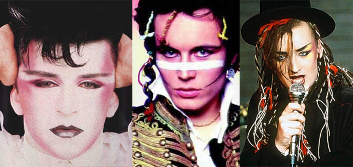 New Romantic bands, new romance hairstyles, 1980s makeup, Visage and Boy George, steve strange, british dandies, HISTORY OF THE DANDY: FLAMBOYANT FLANEUR MALE FASHION, FROM ROCOCO WIGS TO NEW ROMANTIC TODAY'S STEAMPUNK & NEO-VICTORIANA. dances of vice new york, Dark Cabaret, Neo-Victoriana, & Vintage Culture, Jazz Age, Victorian, Rococo and New Romantic Events and parties, dandies, male metrosexuals, Popinjay, Incroyables, Maccaroni, Decadent