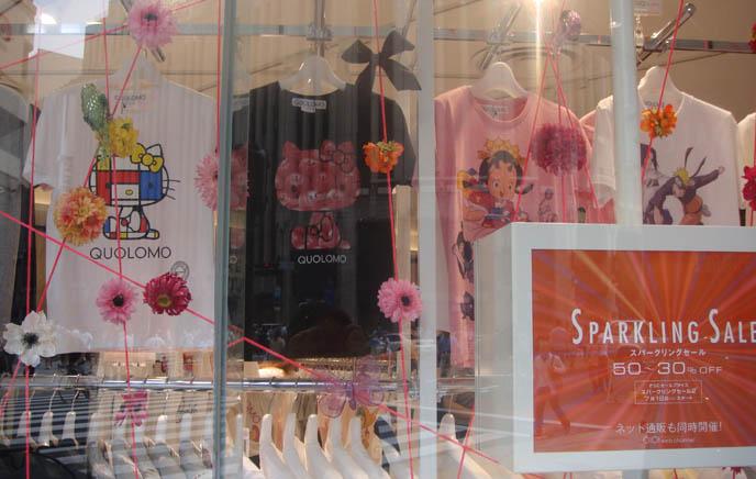 Tokyo anime girl graphic drawing, cute kawaii images, MaruiOne Shinjuku, marui young, quolomo hello kitty t-shirts, mondrian hello kitty sanrio, designer fashion tees Japan, sparkling summer sale, Lolita fashion cheap.
