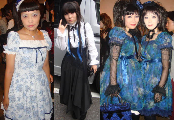 Blue Gothic Lolita girls, EGL, Elegant Gothic Lolita and aristocrat fashion, moi meme moitie dresses. Lolita doll hair, marie antoinette hairstyles Japan. Moi dix Mois and Kozi Deep Sanctuary tour, July 2009 Visual Kei concert at Ebisu Liquidroom. mana sama of Malice Mizer, Dix Inferno, how to buy J-rock show ticket.