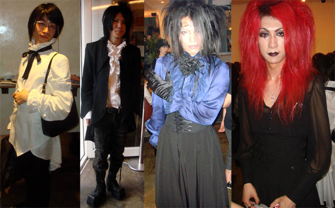 male crossdressers, cosplayers as mana, boystyle kodona dandy, men version of gothic lolita, fans in moi meme moitie at Moi dix Mois and Kozi Deep Sanctuary tour, July 2009 Visual Kei concert at Ebisu Liquidroom. mana sama of Malice Mizer, red or pink long hair wig, Dix Inferno, how to buy J-rock show ticket.