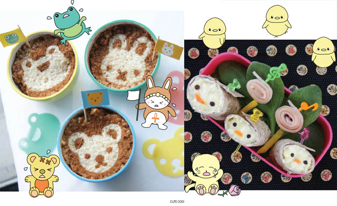 cute yummy time book review, cute cookbook, la carmina author, bento cooking recipes, japanese charaben, face food, pictures of kawaii bentos.