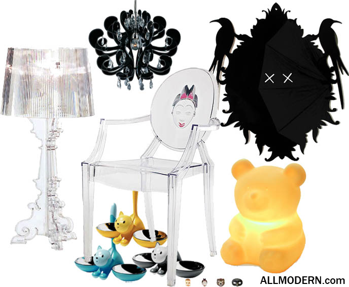 Alessi cute cat feeding bowls, terribear lamp for kids teddy bear cute furniture, raven Goth Baroque Rococo mirror, Ghost chairs and lamp, Allmodern.com, buy interior design and modern furniture online, Gothic interior design homes